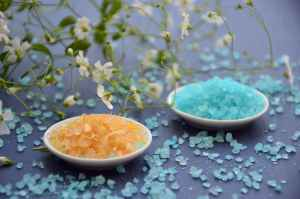 blue and yellow rock salts